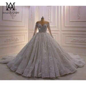 Image 1 - High Quality Long Sleeve Rhinestone Crystal Luxury Wedding Dress 2020 Ball Gown