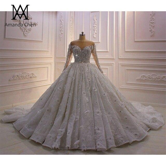 High Quality Long Sleeve Rhinestone Crystal Luxury Wedding Dress 2020 Ball Gown