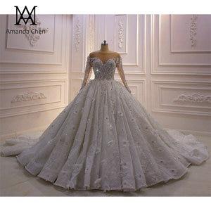 Image 1 - חלוק דה marier תחרה Applique פלאפי כדור שמלת סטרפלס חתונת שמלה