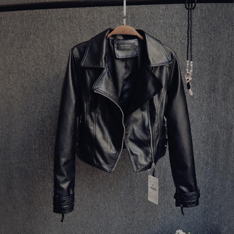 Autumn Women Short   Leather   Coat New Lapel Long Sleeve Motorcycle   Leather   Jacket PU   Leather   Short   Leather   Slim Jackets