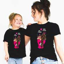 Matching Family T-Shirt Outfits Funny Daughter Girls Super-Mom Boys Kids Black Woman