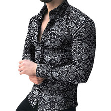Men Shirt Long Sleeve Top 2019 Floral Male Blouse Casual Shirts