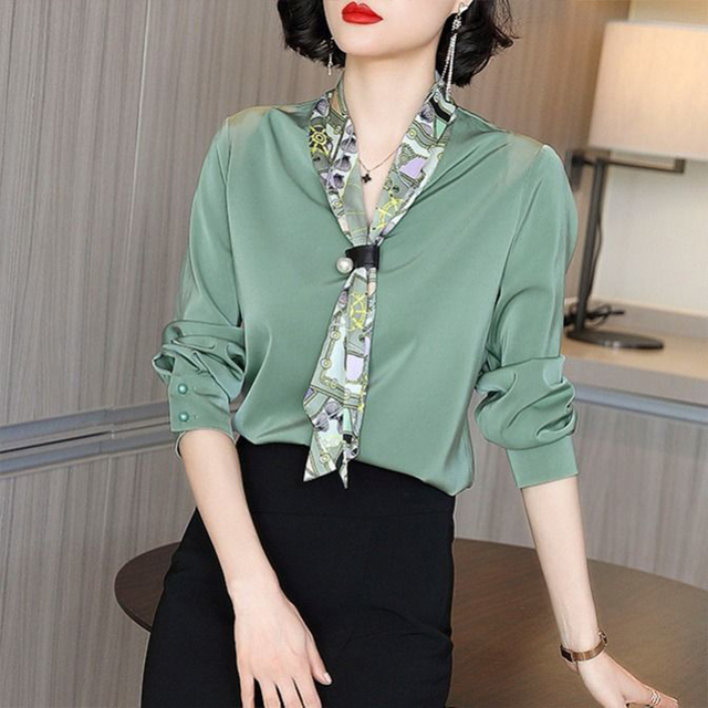 Women's Spring Autumn Style Blouse Shirt Women's Bow-Neck Lace Up Long Sleeve Elegant Loose Casual Tops DD8359 4