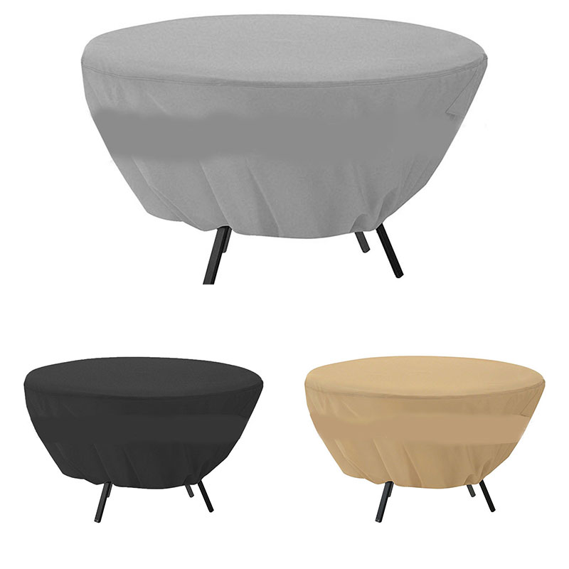 Outdoor Garden Round Table Chair Cover Waterproof Protection Rain Snow Dustproof Cover Solid Color Table Cover High Quality
