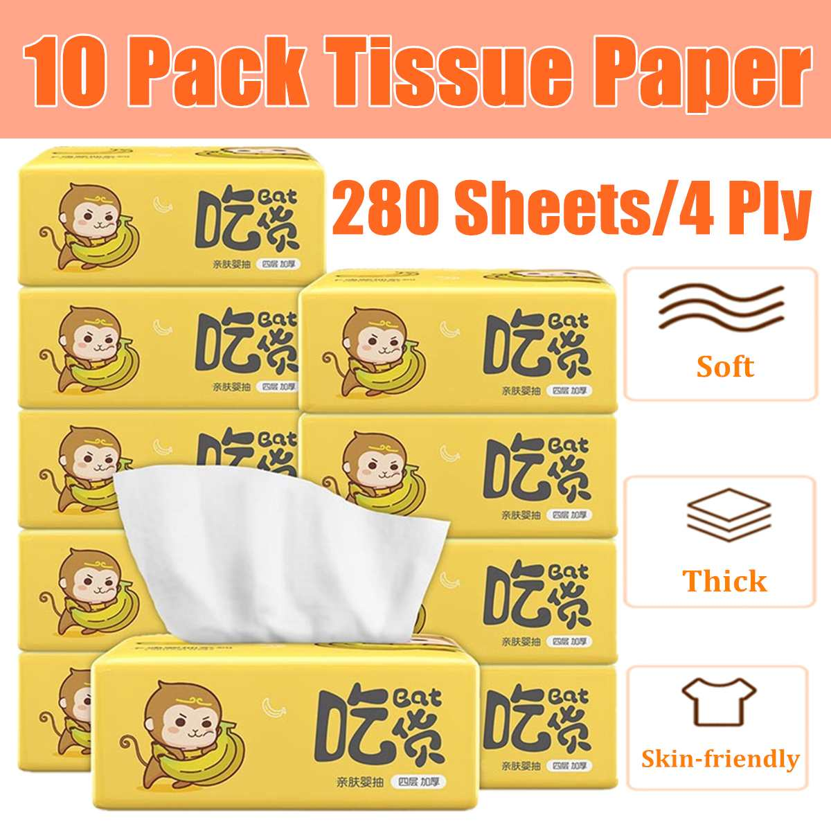 10bags Paper Extraction 280 Sheets 4-layers Skin-Friendly Paper Extraction Protogenesis Napkin Household Paper Tissue Non-Smell