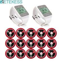 2 шт RETEKESS Ресторан кальян пейджер TD108 часы приемник + 15 шт T117 Кнопка Беспроводной Официант вызова системы для обслуживания клиентов