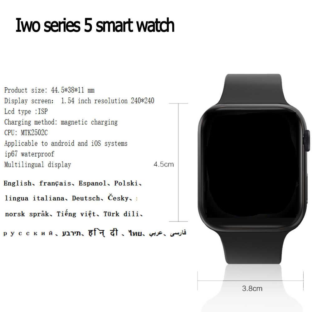Iwo12 plus relógio inteligente para android, ios, telefone 44mm, série 5, para homens e mulheres, bluetooth, chamada, frequência cardíaca vs iwo 12 13