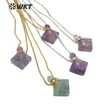 WT-N1191 Wholesale women rhombus shape rainbow fluorite perfume bottle necklace fashion stone perfume bottle necklace
