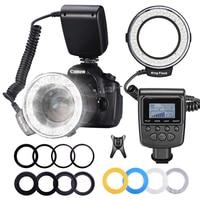 MAMEN 48 anillo de luz LED Macro con 8 anillo adaptador para Nikon Canon Sony Pentax Olympus Panasonic cámara DSLR flash de anil