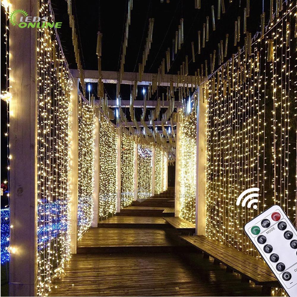 Ledsonline New Year Christmas Curtain Light 3x3m 300 Led 5v Usb Led Garland Fairy Lights String Lights Waterproof Ir Remote Dim Lighting Strings Aliexpress