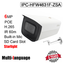 IPC HFW4631F ZSA Bullet IP kamera 6MP IR 60M H.265 H.264 POE 2.7mm ~ 13.5mm motorlu zoom objektifi Starlight ağ kamerası logo ile
