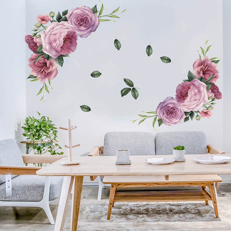 Paint Style Big Pink Poney Flowers Wall Stickers For Living Room Kids Room Home Decoration Wall Decal Home Decor Wallpaper Mural