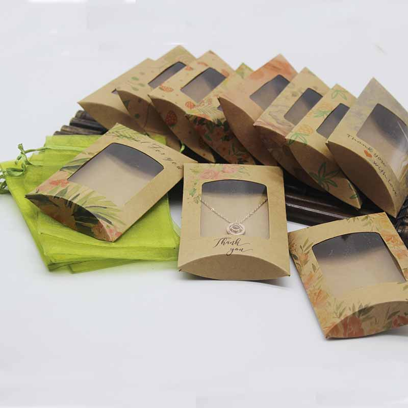 2020 New 10 Box &10 Inner Card+10 Organza Pouch Bag  DIY  Kraft Paper Window Pillow Box Necklace Card  Clear Pvc Pillow  Box
