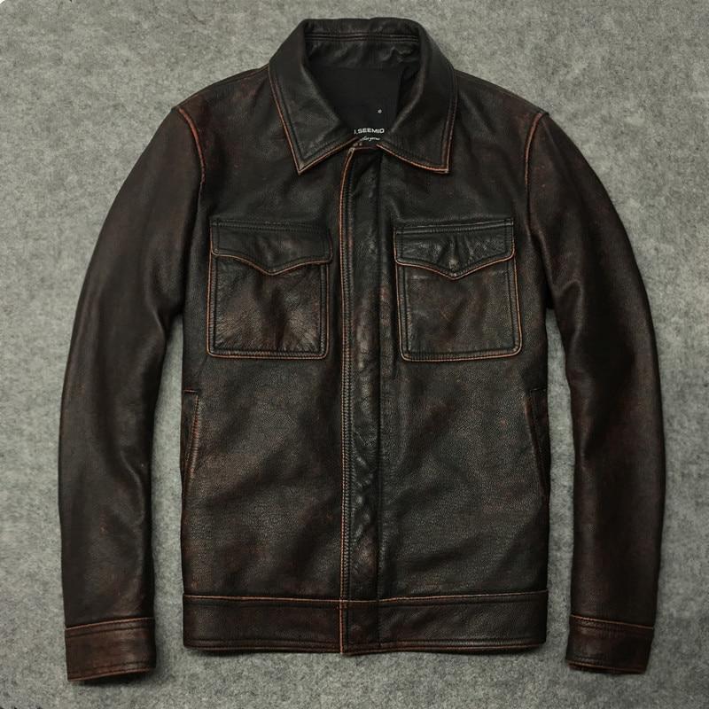 2020 Retro Genuine Jacket Men Short Cowhide Autumn Coat Real Cow Leather Jackets Motorcycle Deri Ceket 1299-2 KJ2284