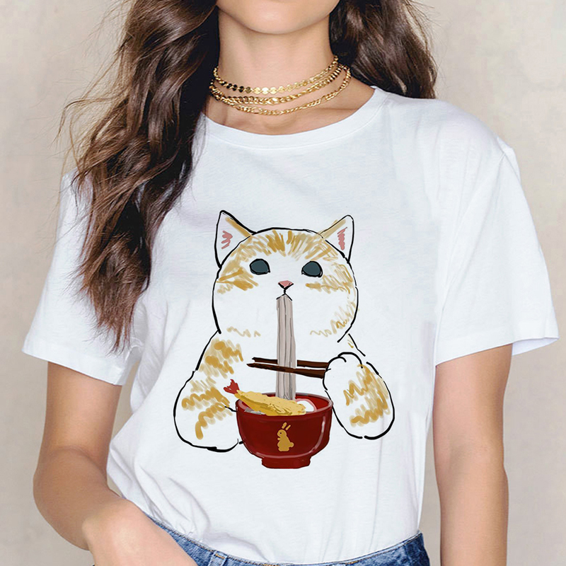 Cat And Food <font><b>Shirt</b></font> Aesthetic Funny Harajuku Kawaii Summer Cute <font><b>T</b></font> <font><b>Shirt</b></font> Women Fashion Clothes Leisure Ulzzang Streetwear 90s Top image