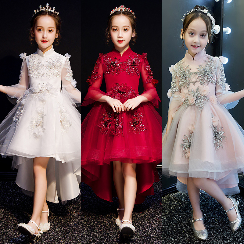 2019 CHILDREN'S Dress Princess Dress Girls Puffy Yarn Little Flower Girl Piano Costume Catwalks Host Late Formal Dress