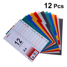 12Pcs Page Divider Colorful Classification Page Tab for Notebook Memo (A4)
