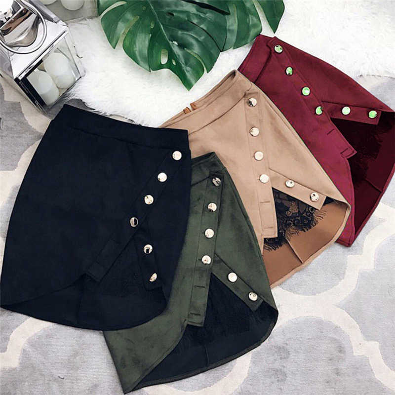 High Waist Pencil Skirts new arrival Women Ladies button lace patchwork sexy Suede Leather split party casual Mini Skirt