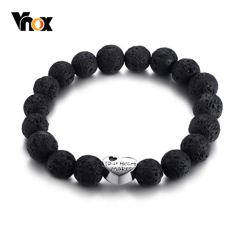 Vnox gravado coração charme pulseira para mulher pedras de lava contas de aço inoxidável encantos estiramento pulseira