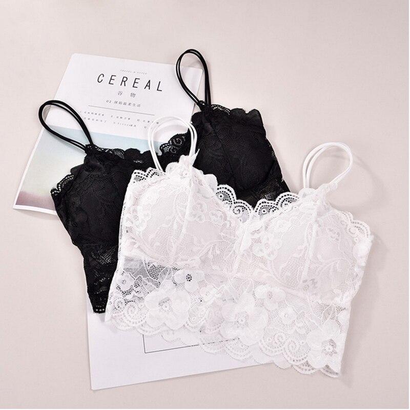 Meihuida Fashion Women Lady Lace Floral Soft Strap Bras Tops Tube Chest Wrap Bandeau Underwear Black White