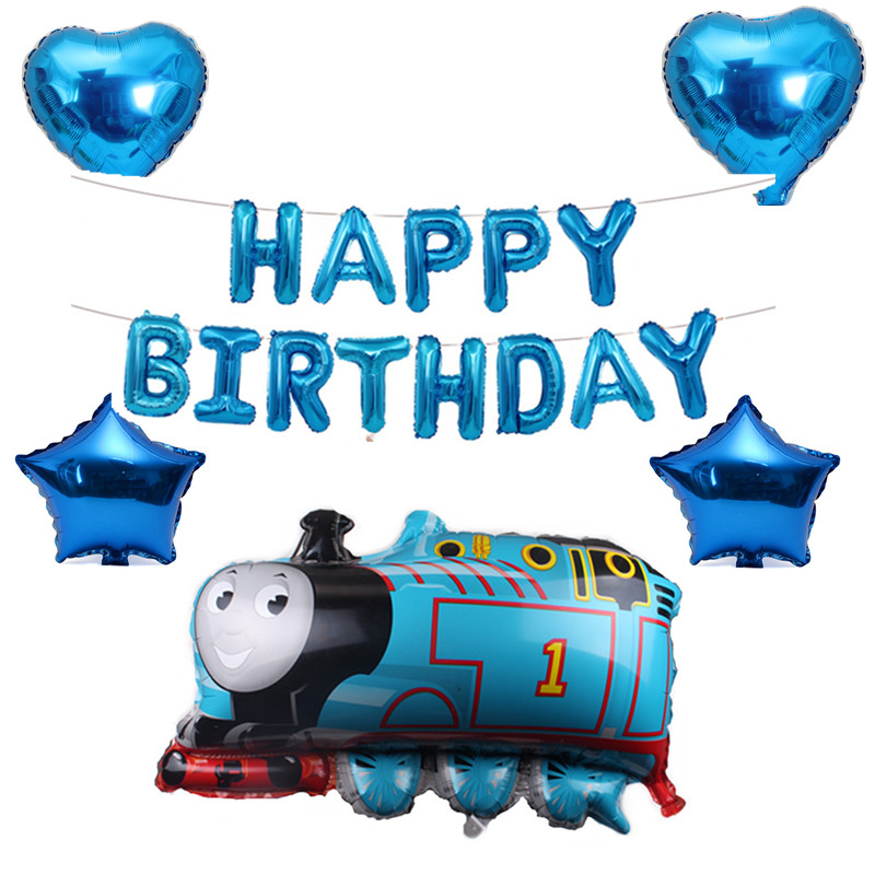 Train Theme Birthday Party Balloons Large Car Boy 2 Years Old 3th 1st Birthday Party Decoration Blue Cartoon Hat