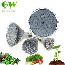 Полный спектр светодиодный светильник для роста растений 6 Вт 10 Вт 30 Вт 50 Вт 80 Вт Phytolamp E27 УФ-светильник для растений, цветов, саженцев