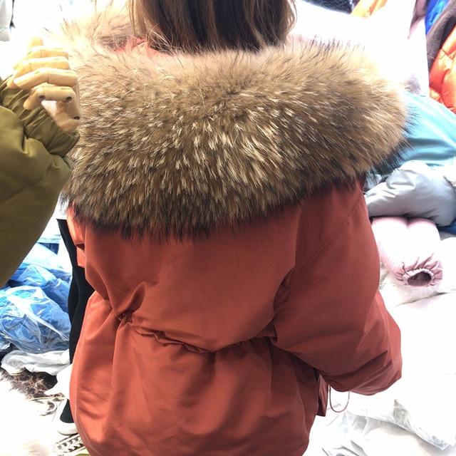 Janveny-manteau de duvet de plumes pour femme, énorme manteau en fourrure de raton laveur, Parka à capuche, hiver 2020 3