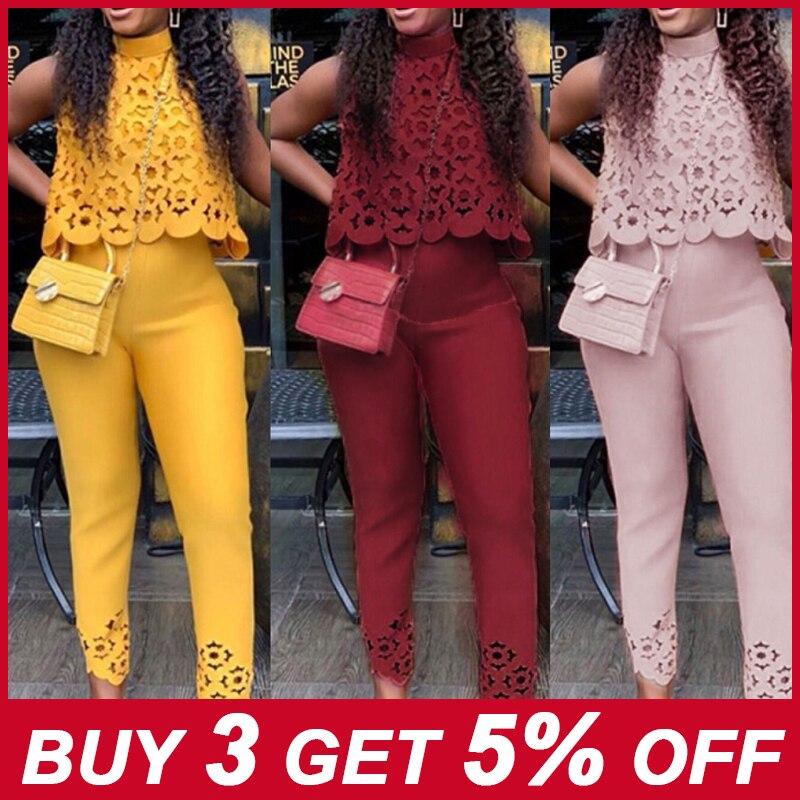 Summer Women Formal 2 Piece Pant Suit 2021 Fashion Sleeveless Chiffon Blouse Top + Slim Work Long Length Pants Set for 4XL