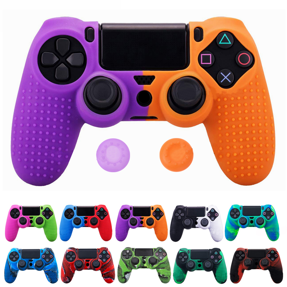 Silicone Cover Skin For Dualshock 4 PS4 Pro Slim Controller Case And Thumb Grips Caps For PlayStation 4 Game Accessories