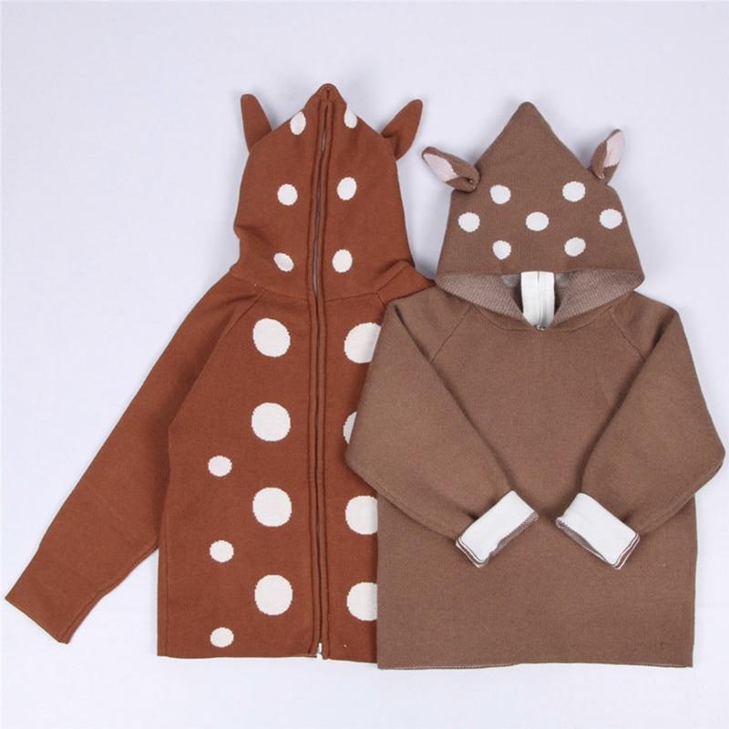 2021 New Kids Girls Knitted Cartoon Sweater Winter Boys Sweater 3D Rabbit Bunny Pullover Baby Girls Winter Clothing 2