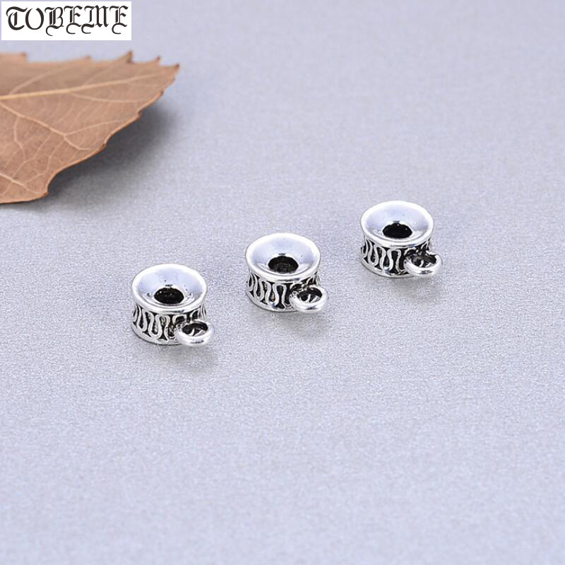 100% 925 Silver Jewelry Spacers Longevity Good Luck Symbol DIY Bracelet Connector Beads Jewelry Findings Ring Beads image