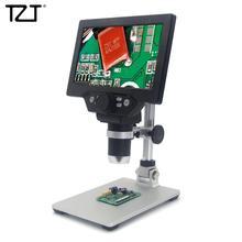 """TZT กล้องจุลทรรศน์ดิจิตอล 12MP 1200X 1080FHD 7 """"จอแสดงผล LCD ปรับมุม 8 LEDs G1200 มาตรฐาน"""