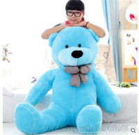 55inch Giant Hung Big Teddy Bear Blue Plush Soft Stuffed Gift Toys for Children Cute Plush Holiday Gift Free Shipping