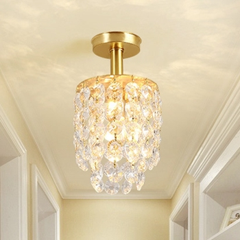 LukLoy Gold Crystal Ceiling Lamp Copper Lamp Base Corridor Light European-style Foyer Cloakroom Corridor Balcony Small Lamp