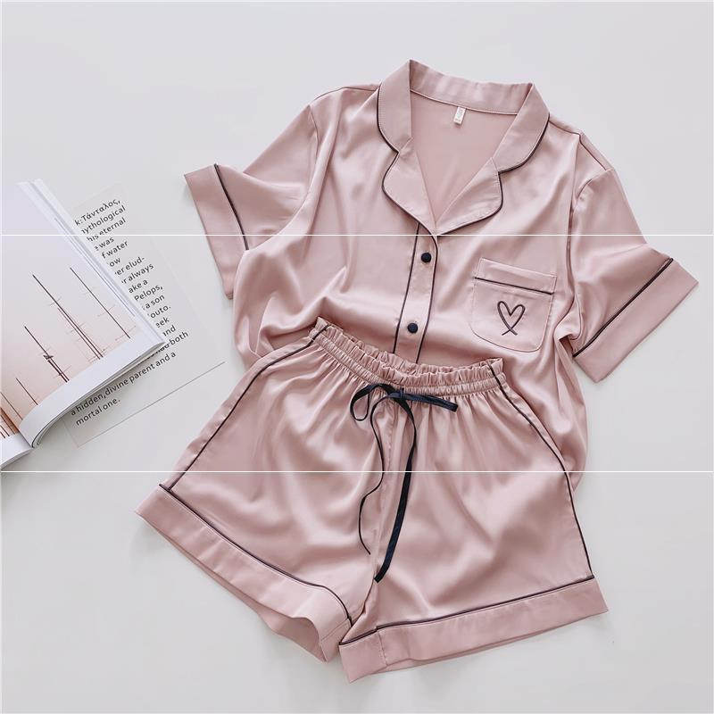 Summer Ice Silk Loose Full Sleepwear 2Pcs Turn-down Collar Home Clothes Tender Button Pajamas Set Shorts Nightwear Pijamas Women