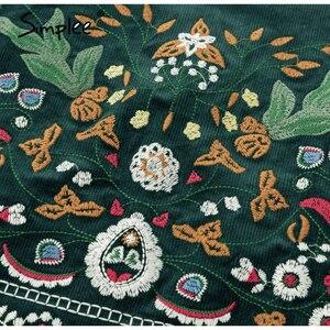 Image 5 - Simplee Vintage taille haute jupes femmes bas Boho crayon velours côtelé hiver jupe femme broderie automne sexy vert mini jupe