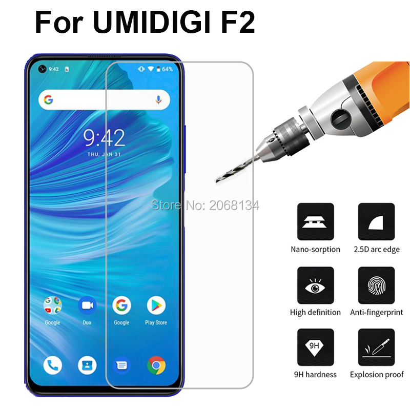 "Tempered Glass For UMI Umidigi F2 Glass Cover 9H Front Guard Mobile Phone Film For Umidigi F2 6.53"" Glass Screen Protector"