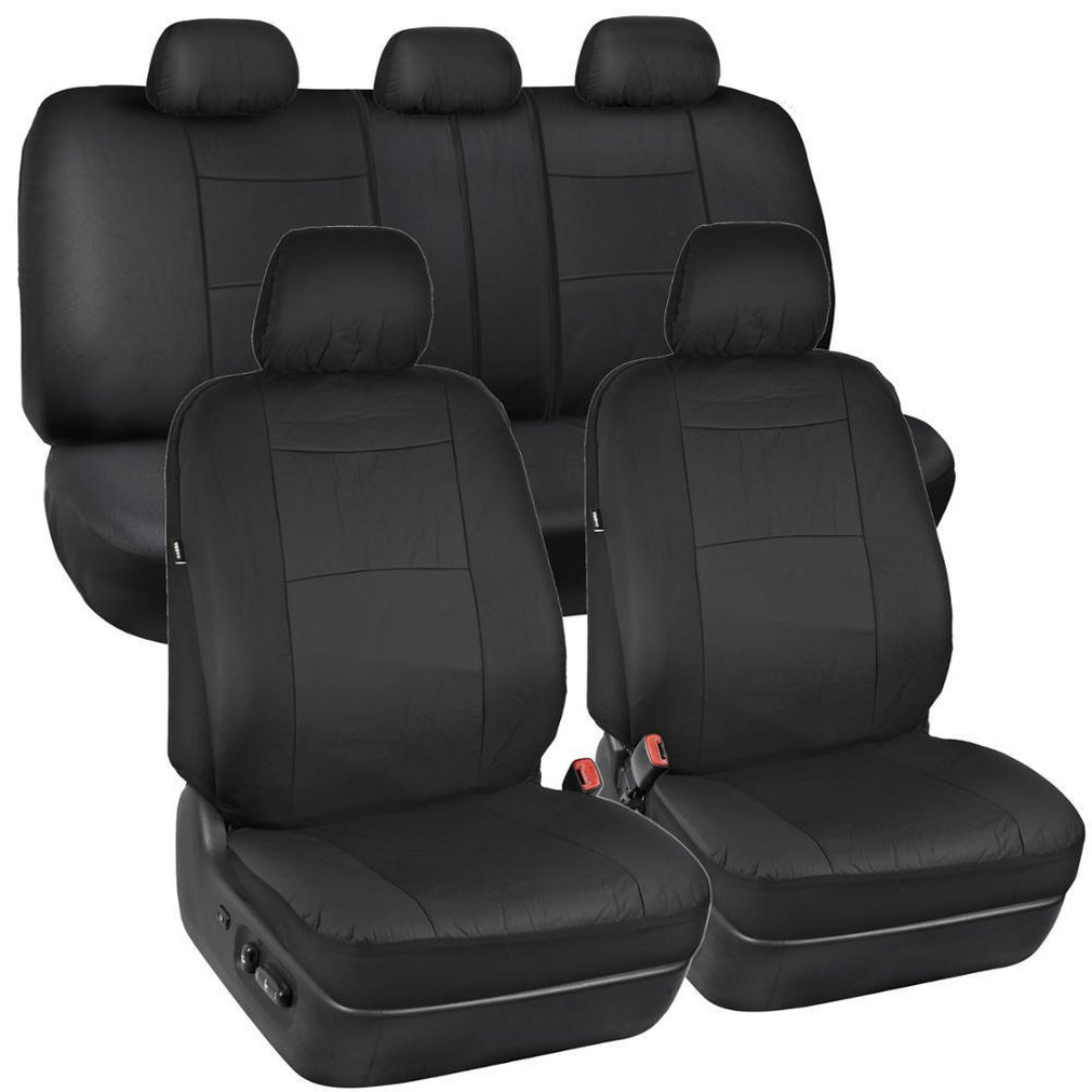 9PCS Synthetic Pu Leather For Low Bucket Seats With Separate Headrests Seat Covers For Car Suv Auto Steering Wheel Cover