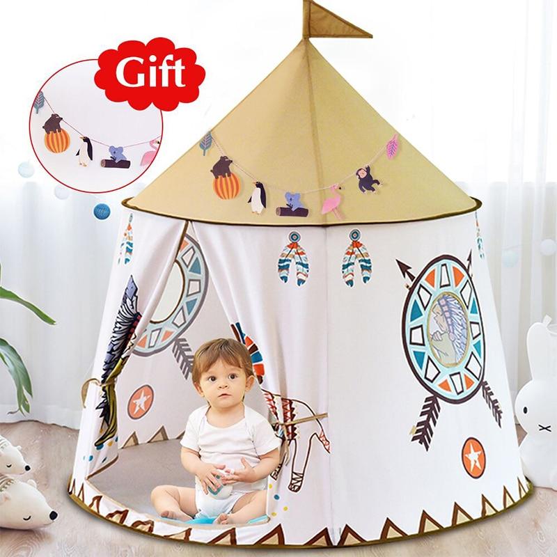 YARD Kid Tent House Portable Princess Castle 123*116cm Present Hang Flag Children Teepee Tent Play Tent Birthday Christmas Gift(China)