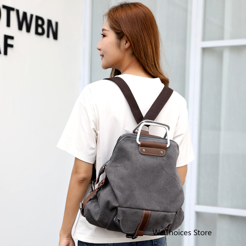 New 2018 Casual Women Backpack Female Backpacks High Quality Canvas Women Bag Women 39 s Travel Backpack school backpack in Backpacks from Luggage amp Bags
