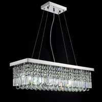 LED Modern Rectangular Crystal Chandelier Light Fixture Lamp Hanging Lamp for Living Room Dining Room Restaurant Decoration