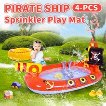 Children's Day Gift Summer Kids Children Inflatable Water Air Mat Pirate Ship Outdoor Swimming Pools PVC Seat Air Mat Water Toys