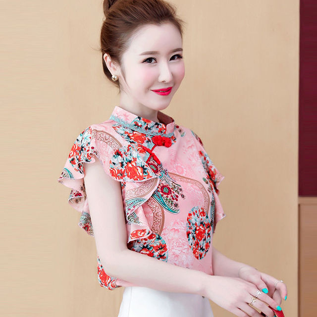 Chinese Styles Elegant Buckle Printed Dragon Women Tops Ruffles Blouse Shirt Chiffon Women Tops Shirts blusas mujer de moda