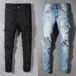 Fashion Streetwear Mannen Jeans Slim Fit Vernietigd Ripped Jeans Mannen Punk Broek Patchwork Blauw Elastische Designer Hip Hop Jeans