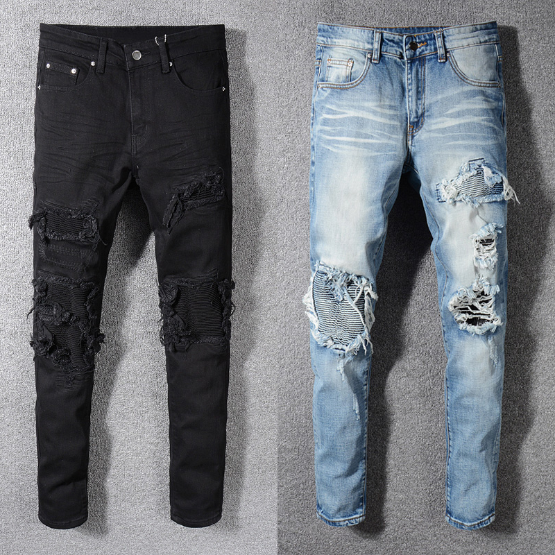 Fashion Streetwear Men Jeans Slim Fit Destroyed Ripped Jeans Men Punk Pants Patchwork Black Blue Elastic Designer Hip Hop Jeans
