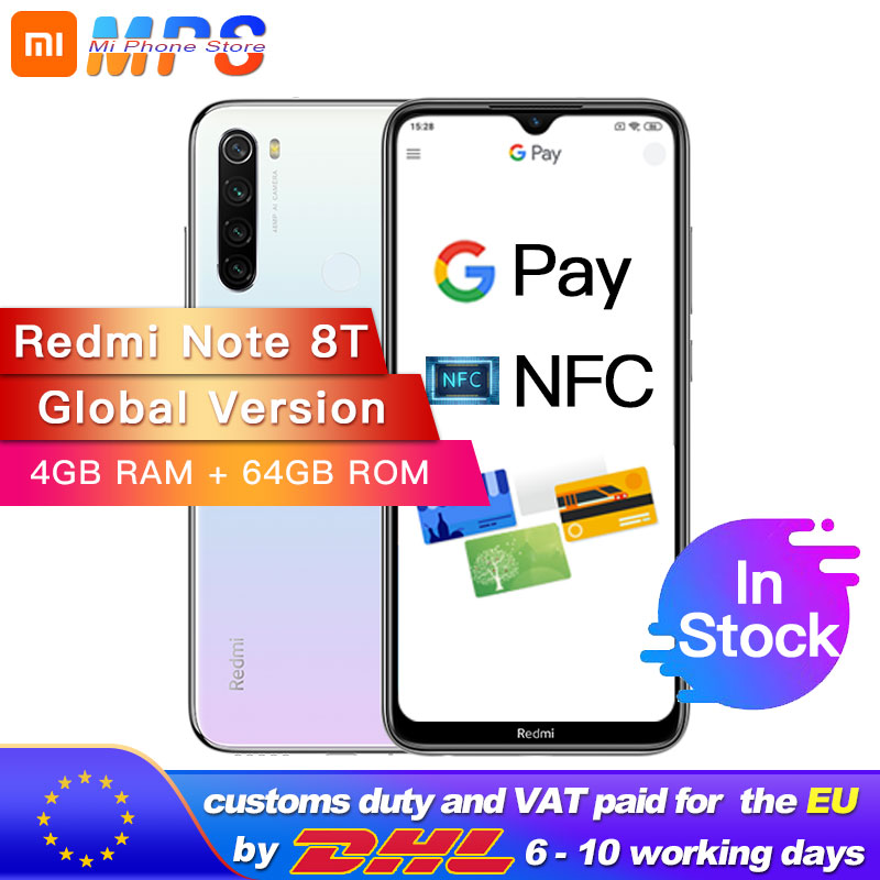 "Global Version Xiaomi Redmi Note 8T NFC 4GB 64GB Snapdragon 665 Octa Core Smartphone 6.3"" 48MP Quad Rear Camera 18W"