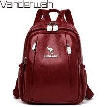 Женские рюкзаки из мягкой кожи для девочек Sac a Dos, повседневный черный винтажный рюкзак, школьные сумки для девочек, рюкзаки Mochila