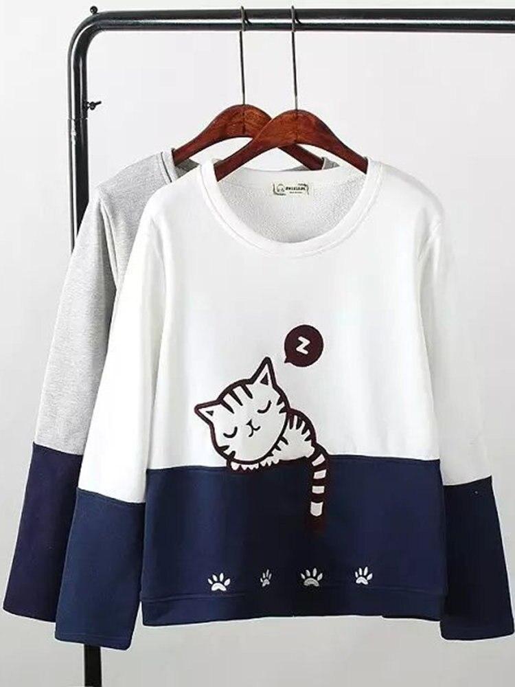 Cat Cute Hoodies Sweatshirts 2020 Women Casual Kawaii Fashion Fashion Punk For Girls Clothing European Tops Korean