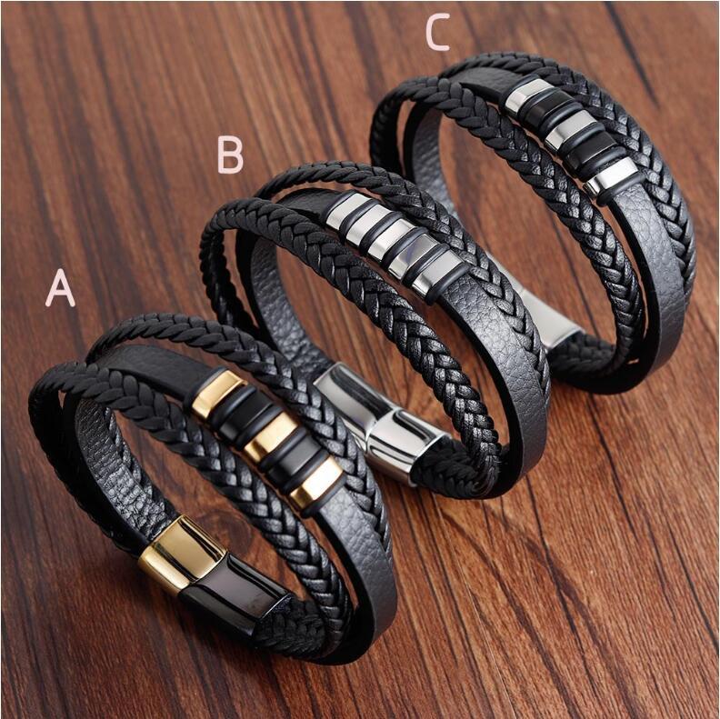 Hot Punk Men Leather Titanium Steel Magnetic Braided Clasp Bracelet Cuff Bangle