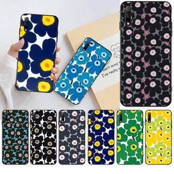 Marimekko azul flor funda del teléfono para Huawei Honor 30 20 10 9 8 8x 8c v30 Lite ver pro